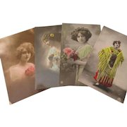 Four 1920's Glamour women hand tinted postcards