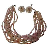 Extraordinary vintage Vendome pink art glass necklace, earrings