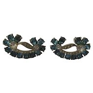Fabulous Joseph Wiesner of N.Y blue rhinestone earrings