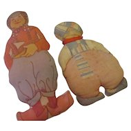Early 1920's painted cloth doll kit dolls.   ( Dutch )
