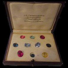 Vintage 1925 I B Farben Frankfurt Germany Synthetic Corundum stone set. - Red Tag Sale Item