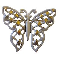 Vintage enamel crown Trifari butterfly brooch