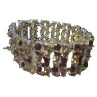 Gorgeous vintage Henry Bogoff rhodium lavender, rhinestone bracelet