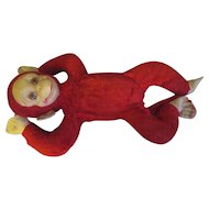 Early 1930's Red Monkey/celluloid face/felt hands, feet.