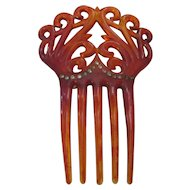 Vintage Jeweled celluloid/plastic hair comb.