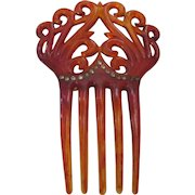 Vintage Jeweled celluloid/plastic hair comb.