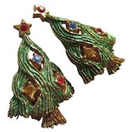 Vintage jeweled Christmas tree clamp earrings