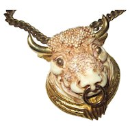 Vintage 1970 Razza Taurus/bull large necklace
