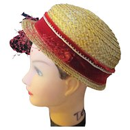 Vintage Alfreda Inc. New York/Paris hand made ladies straw hat.