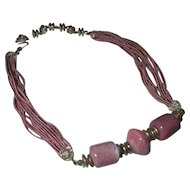 Vintage Miriam Haskell hot pint cord lg pink bead necklace