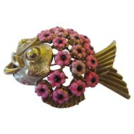 Vintage Hattie Carnegie hot pink blow fish brooch