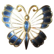 Pretty enamel butterfly brooch by J.J
