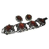 Huge glass amber bracelet and earring set