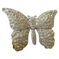 Art Deco paved rhinestone pot metal large butterfly brooch