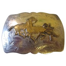Vintage Renalde Solid Nickel Denver Colorado belt buckle