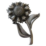 Metzke Pewter Sunflower brooch