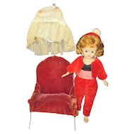 "Vintage 1957 Jill/Vogue 10 1/2"" doll/hair style chair"