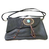 Southwest style soft pliable black leather purse