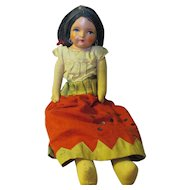 Vintage 1930's Senorita compo straw stuffed doll