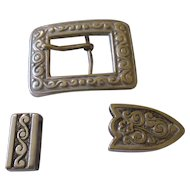 Vintage 1940's hard to find belt buckle set,  listed Artist C. Avila of Mexico