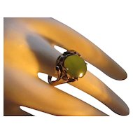 Victorian gilt gold/sterling Jade ring