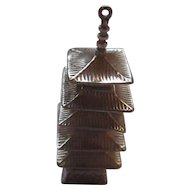 Early 1900's Oriental hand made Sterling Pagoda pendant