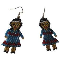 Cute vintage little hand made glass beaded native american earrings.