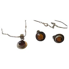 Vintage sterling silver/Amber necklace and matching earrings,