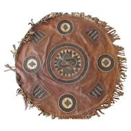 Interesting possible Native American/European/ large leather dance shield.