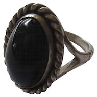 Vintage onyx, sterling silver ring sz. 7/ signed Barrera