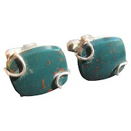 Vitage Bloodstone sterling cuff links