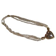 Joan River faux pearl, two tone heart necklace