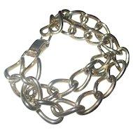 Vintage 1950's Pegasus Coro  silver tone double thick link bracelet