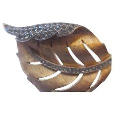 Early Trifari rhinestone, leaf brooch