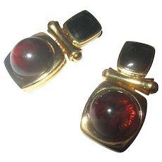 Joan Rivers door knocker earrings faux amber