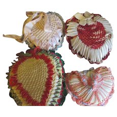 Vintage 1940-1950 Four Satin, crochet, ribbon pin cushion x 4