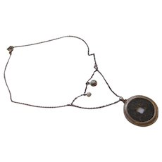 Interesting sterling oriental necklace/ coin/pearl