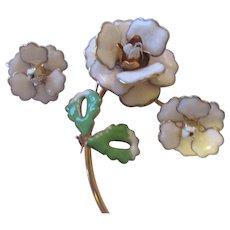 French Enamel floral set/ brooch/earrings