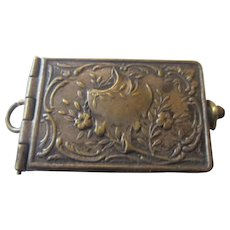 French Art Nouveau book watch fob locket