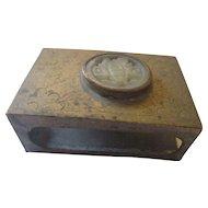 Vintage Asian Brass, butterfly jade match box