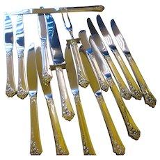 Vintage sterling Oneida Heirloom Damask knife set.