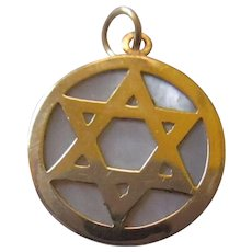 Star of David 14k yellow gold/agate pendant or charm