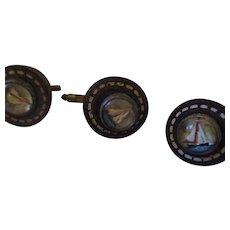 Vintage 1940's glass/enamel cuff links/ button set