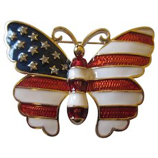 Patriotic red, white, and blue w/rhinestones Joan Rivers Butterfly brooch