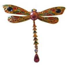 "Plique A Jour Joan Rivers Dragonfly brooch 3 1/2"""