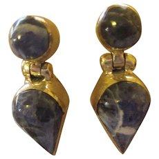 Great looking Lapis 950 sterling door knocker earrings
