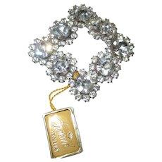 Vintage Garne large shiny rhinestone brooch