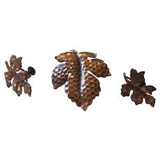 Vintage Copper Oak leaf Kim set