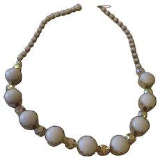 Vintage Garne large milk glass cab/AB necklace