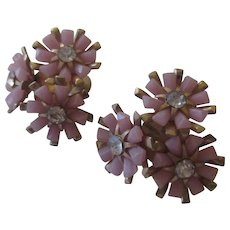 Mid 1940's Coro pink floral earrings